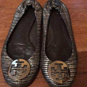 Tory Burch Gold Patterned Reva Flats